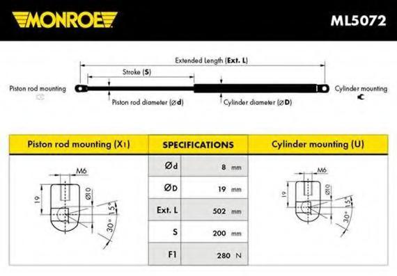 Amortizor portbagaj ZAZ TAVRIA 1.1 - MONROE ML5072