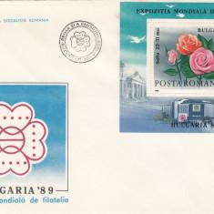 ROMANIA 1989  LP 1220 EXPOZITIA MONDIALA DE FILATELIE BULGARIA 89 COLITA  FDC