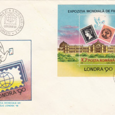 ROMANIA 1990  LP 1236  EXPOZITIA  MONDIALA FILATELIE LONDRA  COLITA  FDC