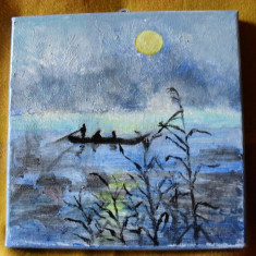 La pescuit-pictura ulei pe panza;MacedonLuiza, Peisaje, Altul