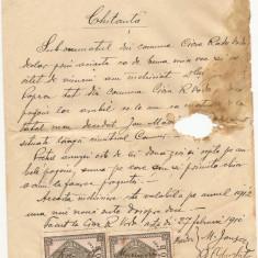 CHITANTA INCHIRIAT PAMINT 1910 TIMBRE FISCALE RARE
