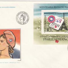 ROMANIA 1989 LP1227 EXP.  MONDIALA  FILATELIE  PHILEXFRANCE 89 COLITA  DANT. FDC