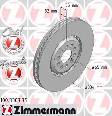 Disc frana VW GOLF Mk IV 3.2 R32 4motion - ZIMMERMANN 100.3307.75