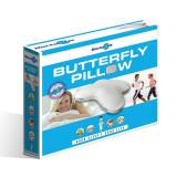 Perna ergonomica cu spuma cu memorie Doctor Fit Butterfly gel Visco, antialergica, antibacteriana, alb, ID1025