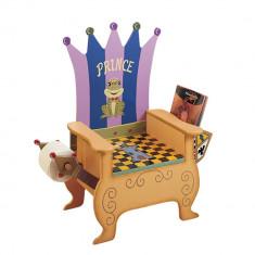 Olita 2in1 cu scaunel din lemn model tron print sculptat si pictat manual Teamson Kids, ID312