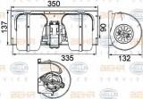 Ventilator, habitaclu DAF 95 XF FA 95 XF 380 - BEHR HELLA SERVICE 8EW 351 024-491