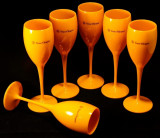 Set pahare pentru sampanie din acril Veuve Clicquot Orange x6 ID468