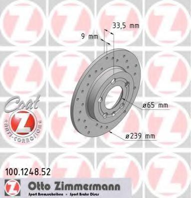 Disc frana VW GOLF Mk IV 1.9 TDI 4motion - ZIMMERMANN 100.1248.52 foto
