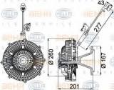Cupla, ventilator radiator MERCEDES-BENZ ACTROS MP2 / MP3 1832, L, LL - BEHR HELLA SERVICE 8MV 376 757-461
