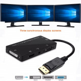 4in1 Adaptor convertor DisplayPort DP la HDMI + VGA + DVI cu audio pt laptop, pc
