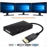 4in1 Adaptor convertor DisplayPort DP la HDMI + VGA + DVI cu audio pt laptop, pc