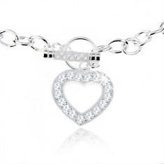 Colier din argint 925, plăcuță masivă, contur inimă din zirconiu