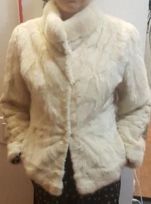 Haina de blana tip sacou tunica de nurca crem nr S foto