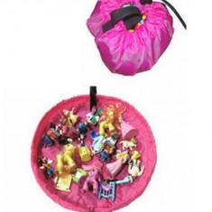 Covor joaca si organizator pentru jucarii 2 in 1 roz