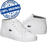 Pantofi sport Lacoste Straightset Chukka pentru barbati - ghete originale piele, 40.5, 43, 44, Alb, Piele naturala