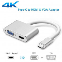 2in1 Adaptor convertor video multiport USB-C Type-C la HDMI + VGA