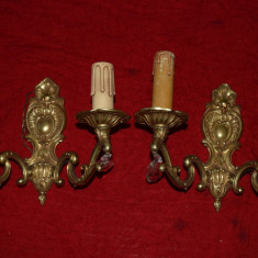 Pereche aplice din bronz masiv si cristale cu 2 brate 20x26  cm NR 17