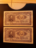 BANCNOTE ROMANESTI 100LEI 1952 SERIE CONSECUTIVA XF