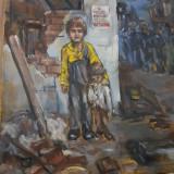 TABLOU VECHI  TEMATIC-SFARSITUL WW 2 ROMANIA-ULEI PE PANZA NESEMNAT