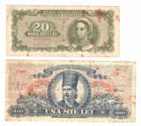 SV * Romania  LOT  1000 LEI 1948  (18 iunie)  +  RPR  20 LEI 1950   Min. Finante