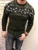 Pulover barbati khaki la baza gatului SlimFit Tricotat gros cu motive de iarna, L, M, S, XL, Acril