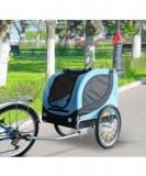 Remorca de bicicleta pentru transportul cainilor, albastra