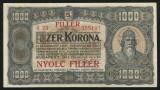 Y094 UNGARIA 1000 KORONA COROANE 1923 CU SUPRATIPAR 8 FILLER XF