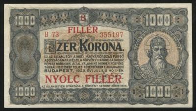 y094 UNGARIA 1000 KORONA COROANE 1923 CU SUPRATIPAR 8 FILLER XF foto