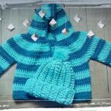 CARDIGAN GLUGA SI CACIULITA/SET, bleu/bleumarin, 100% bumbac, copii 0-3 luni