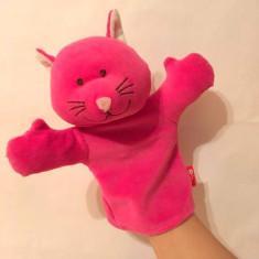 Marioneta teatru de papusi, papusa manuala pisica roz