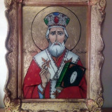 Icoana pe sticla - Sf Nicolae - foita de aur
