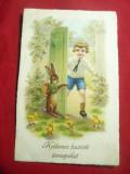 Ilustrata de autor -Felicitare de Paste -Iepuras si Copil -Ungaria circ. Turda, Circulata, Printata