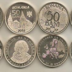 ROMANIA  4 buc COMEMORATIVE  50 BANI  2015 , 2016 , 2017 , 2018  din fisic - UNC