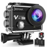 JEEMAK 4K Action Camera 16MP WiFi Underwater 30M + telecomanda+ 2 acumulatori