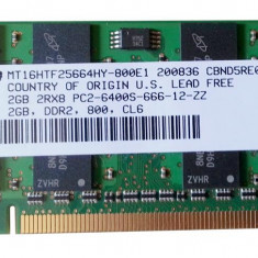 Memorie Ram laptop Sodimm Micron Technology(MT) 2Gb DDR2 800Mhz PC2-6400S, 2 GB, 800 mhz