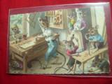 Ilustrata de Autor - Familie de Soricei circulat 1933 Belgia