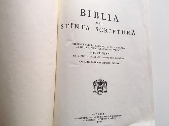 BIBLIA sau Sfanta Scriptura 1968- SUB INDRUMAREA PATRIARHULUI JUSTINIAN