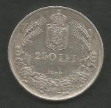 ROMANIA  CAROL II  250 LEI 1939  [2]  Argint 835 / 1000 - XF +  ,  in cartonas