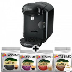 Pachet Espressor + 12 cutii capsule, Bosch Tassimo Vivy II TAS1402, 1300w, 3.3 bar, 0.7l , autocuratare si decalcifiere, capsule, Negru