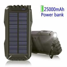 Power Bank 25000 mAh Solar, Lanterna Indicator Led. Baterie Externa. Incarcator