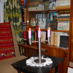 Sfesnic metal inox,trei lumini,lat.18cm.,h25,5cm.
