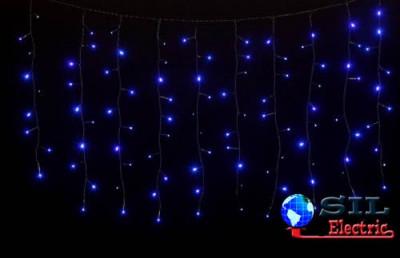 Perdea 100 LED-uri albastre cu jocuri de lumini cablu negru WELL foto