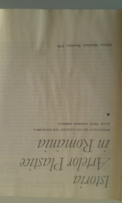 ISTORIA ARTELOR PLASTICE IN ROMANIA - coord. G. OPRESCU, VOL.1   (4+1) foto