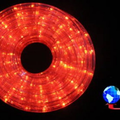 Furtun luminos cu jocuri de lumini 24 LED/m rosii cablu transparent WELL