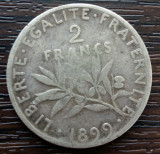 (A552) MONEDA DIN ARGINT FRANTA - 2 FRANCS 1899, SEMANATOAREA, NECURATATA