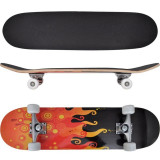 Skateboard oval din arțar în 9 straturi, imprimeu foc