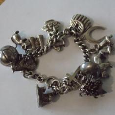 Bratara argint vintage cu charmuri -2493