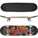 Skateboard oval din arțar în 9 straturi, imprimeu graffiti