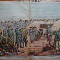 Ziarul Vulturul , nr. 51 din 1906 , cromolitografie mare ; Carol I la Plevna