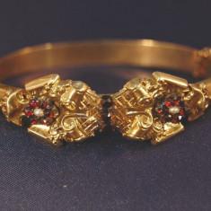 Bratara Aur 14K Biedermeier Cu Perla Si Pietre Granat Reducere